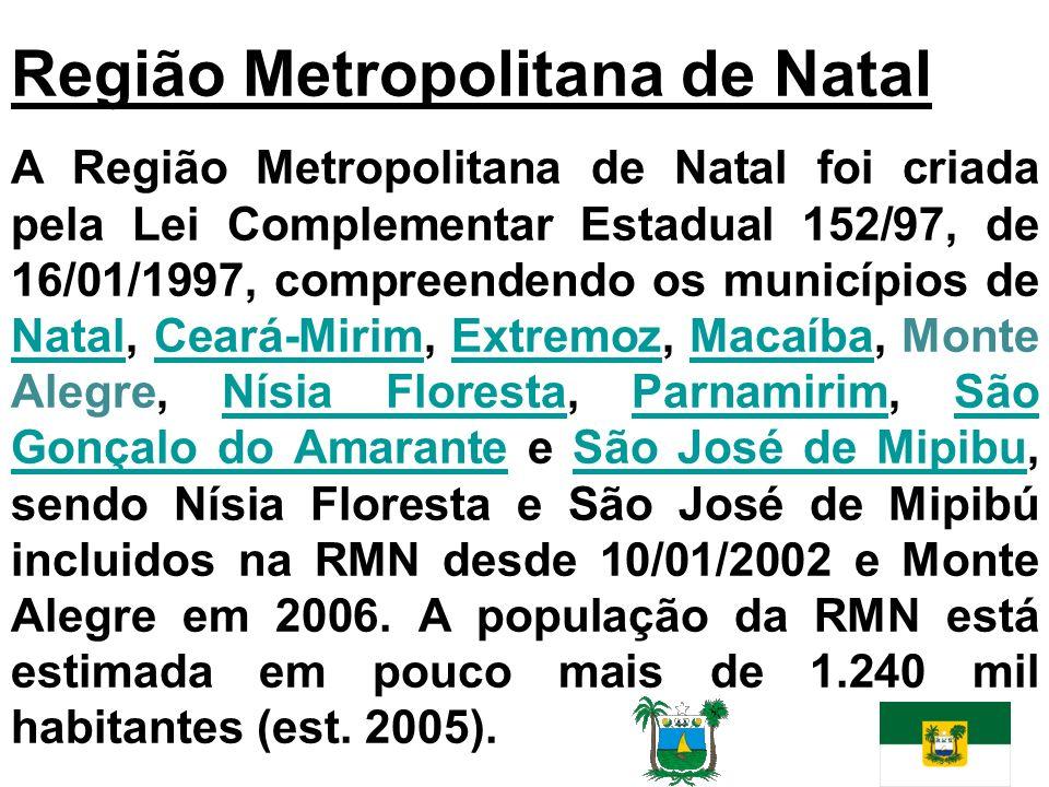 A Região Metropolitana de Natal foi criada pela Lei Complementar Estadual 152/97, de 16/01/1997, compreendendo os municípios de Natal, Ceará-Mirim, Ex