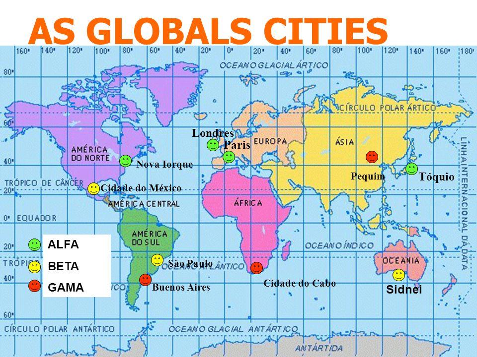 AS GLOBALS CITIES São Paulo Buenos Aires Cidade do México Nova Iorque Tóquio Londres Paris Cidade do Cabo Pequim Sidnei ALFA BETA GAMA