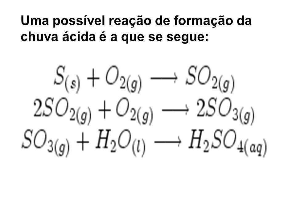 Uma possível reação de formação da chuva ácida é a que se segue:
