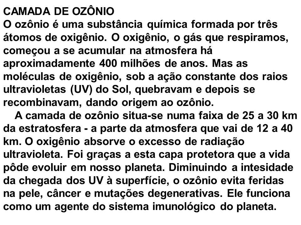 CAMADA DE OZÔNIO O ozônio é uma substância química formada por três átomos de oxigênio. O oxigênio, o gás que respiramos, começou a se acumular na atm
