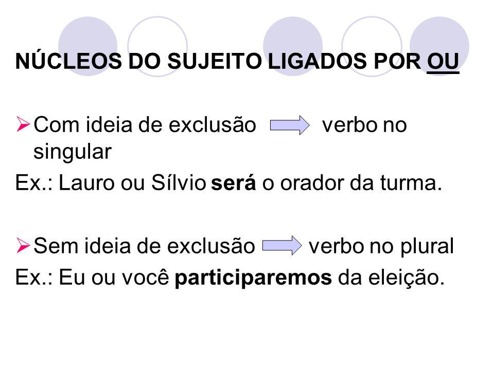 NÚCLEOS DO SUJEITO LIGADOS POR OU Com ideia de exclusão verbo no singular Ex.: Lauro ou Sílvio será o orador da turma. Sem ideia de exclusão verbo no