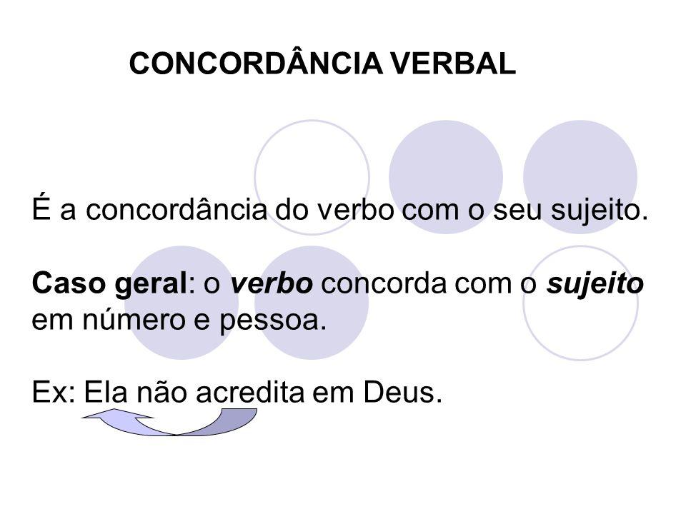 É a concordância do verbo com o seu sujeito. Caso geral: o verbo concorda com o sujeito em número e pessoa. Ex: Ela não acredita em Deus. CONCORDÂNCIA