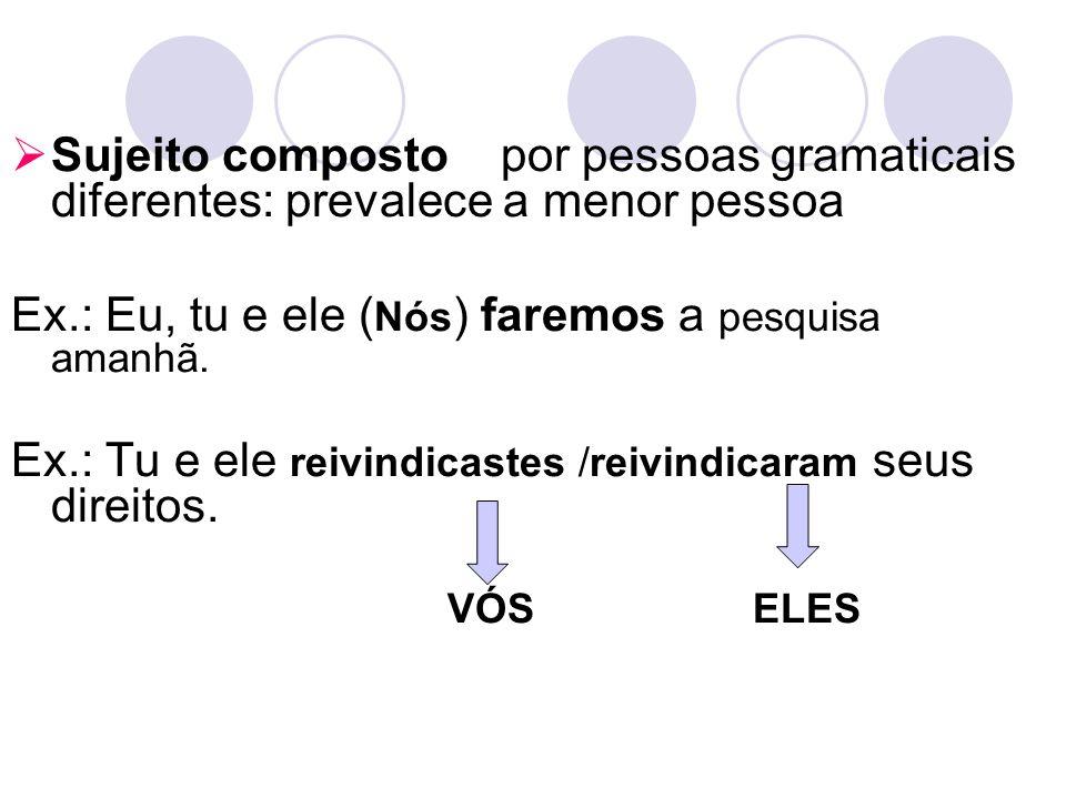 Sujeito composto por pessoas gramaticais diferentes: prevalece a menor pessoa Ex.: Eu, tu e ele ( Nós ) faremos a pesquisa amanhã. Ex.: Tu e ele reivi