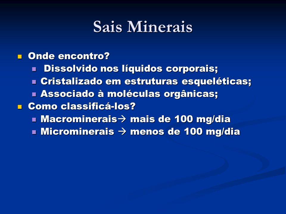 Sais Minerais Onde encontro? Onde encontro? Dissolvido nos líquidos corporais; Dissolvido nos líquidos corporais; Cristalizado em estruturas esqueléti