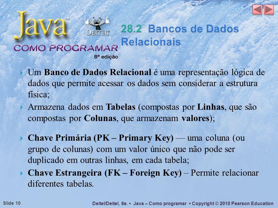 Deitel/Deitel, 8e. Java – Como programar Copyright © 2010 Pearson Education Slide 10 Um Banco de Dados Relacional é uma representação lógica de dados
