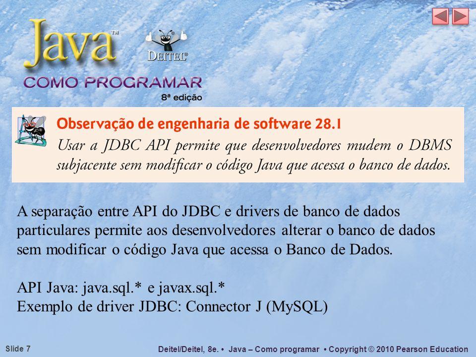 Deitel/Deitel, 8e. Java – Como programar Copyright © 2010 Pearson Education Slide 7 A separação entre API do JDBC e drivers de banco de dados particul