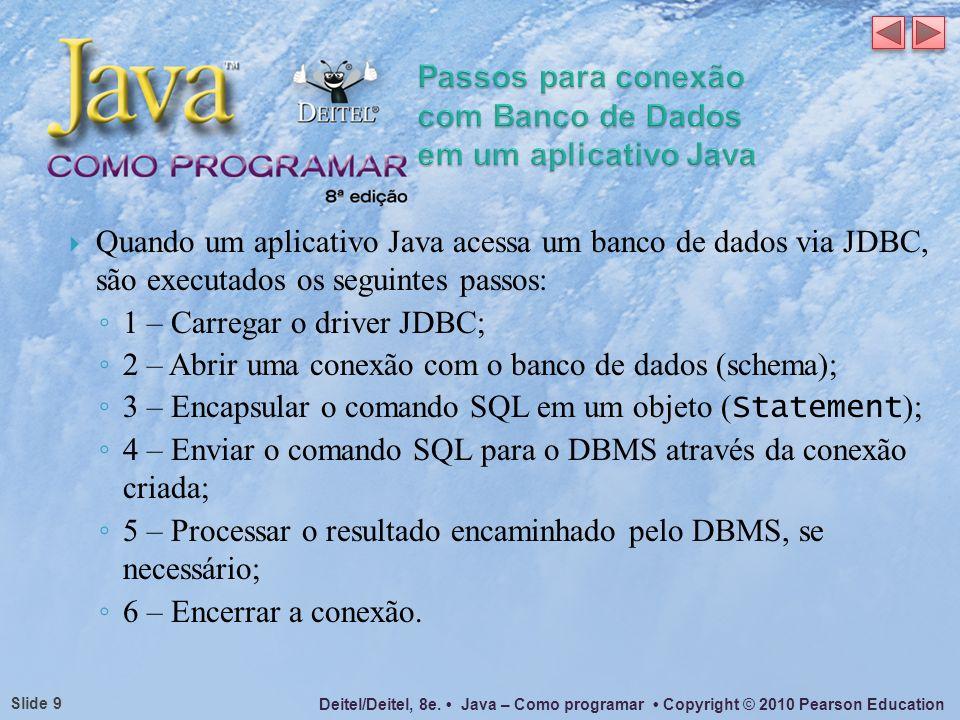 Deitel/Deitel, 8e. Java – Como programar Copyright © 2010 Pearson Education Slide 9 Quando um aplicativo Java acessa um banco de dados via JDBC, são e
