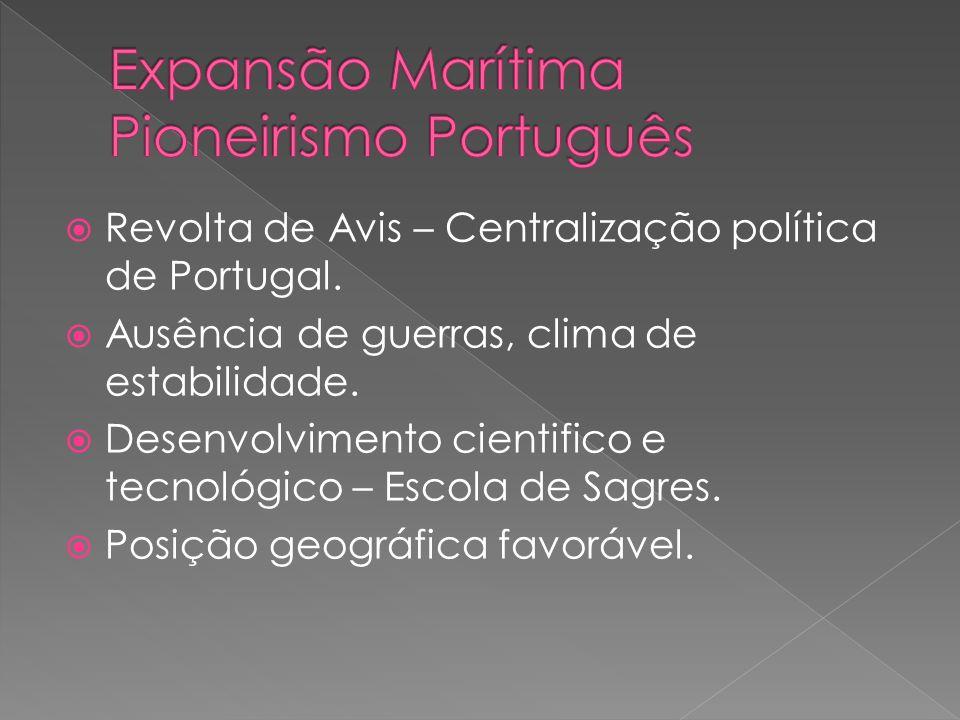 Revolta de Avis – Centralização política de Portugal. Ausência de guerras, clima de estabilidade. Desenvolvimento cientifico e tecnológico – Escola de
