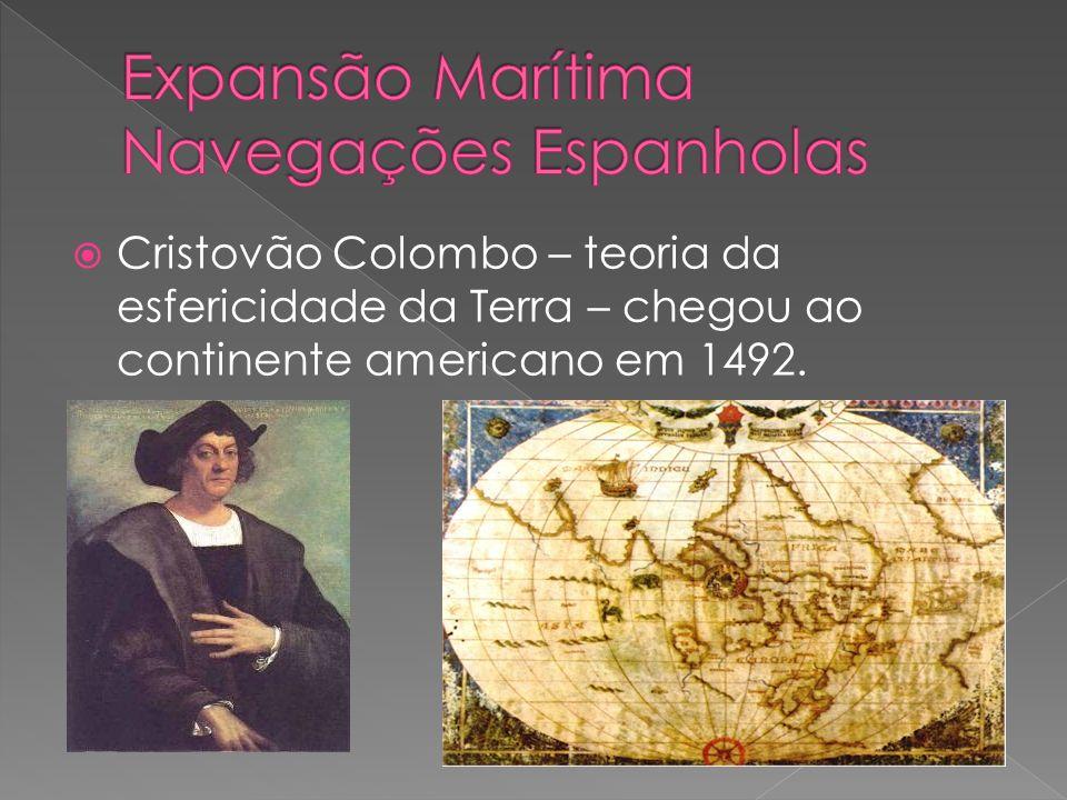Cristovão Colombo – teoria da esfericidade da Terra – chegou ao continente americano em 1492.