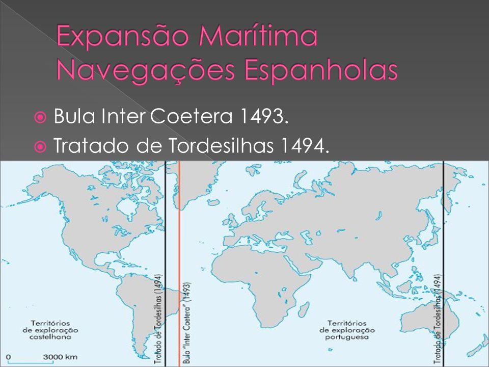 Bula Inter Coetera 1493. Tratado de Tordesilhas 1494.