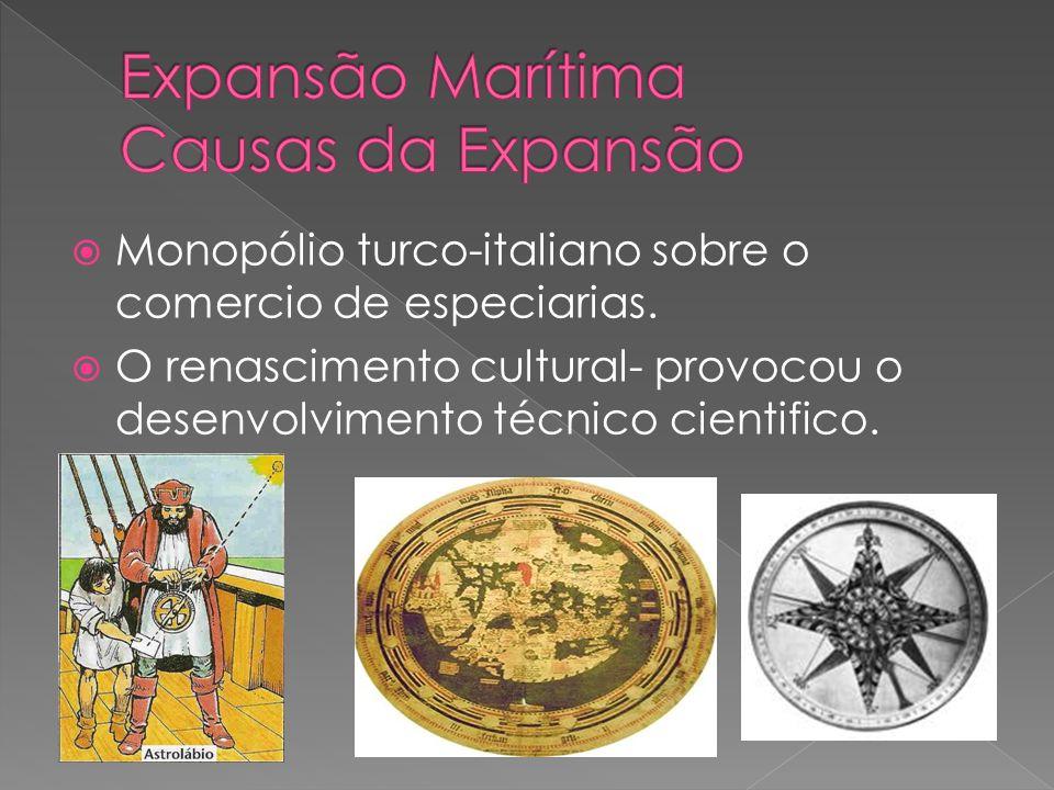 Monopólio turco-italiano sobre o comercio de especiarias. O renascimento cultural- provocou o desenvolvimento técnico cientifico.