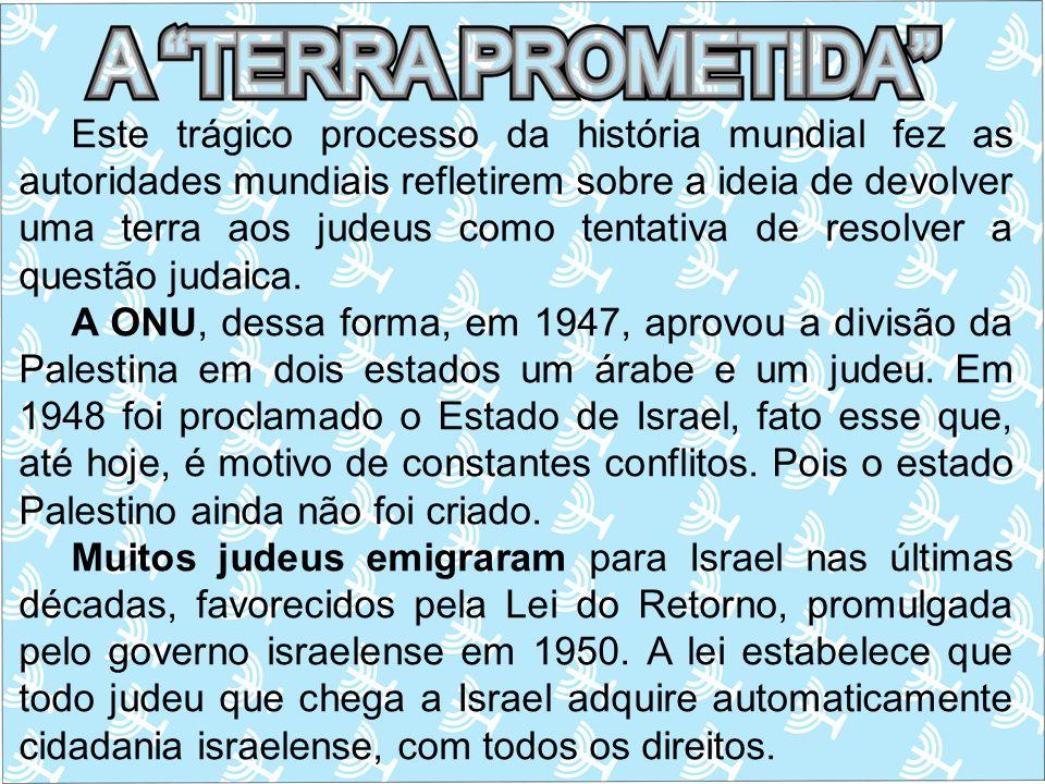 Este trágico processo da história mundial fez as autoridades mundiais refletirem sobre a ideia de devolver uma terra aos judeus como tentativa de reso