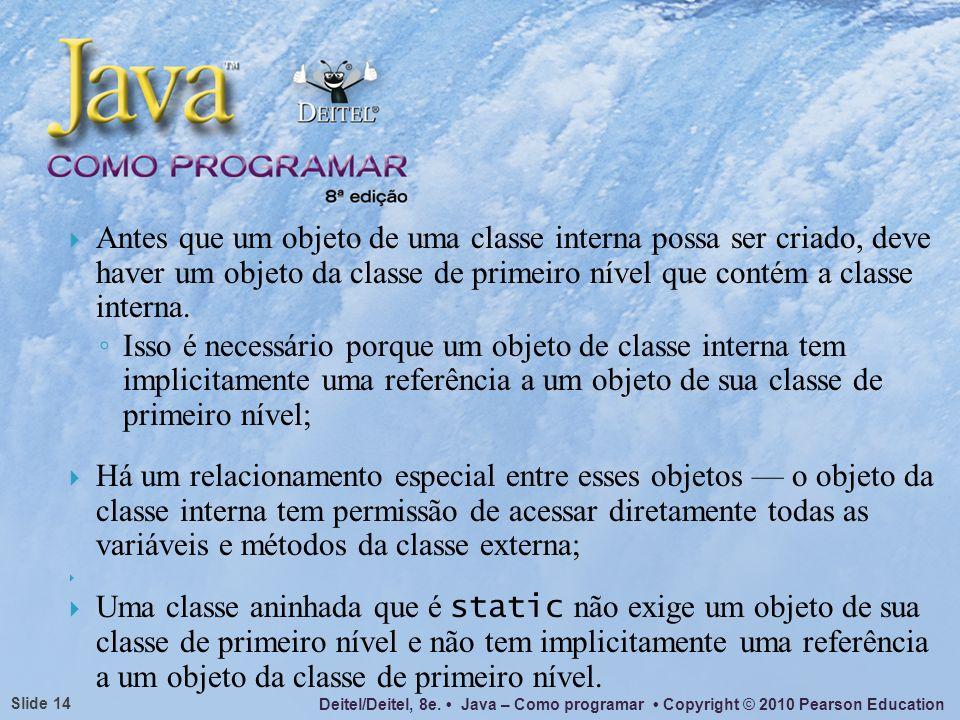 Deitel/Deitel, 8e. Java – Como programar Copyright © 2010 Pearson Education Slide 14 Antes que um objeto de uma classe interna possa ser criado, deve
