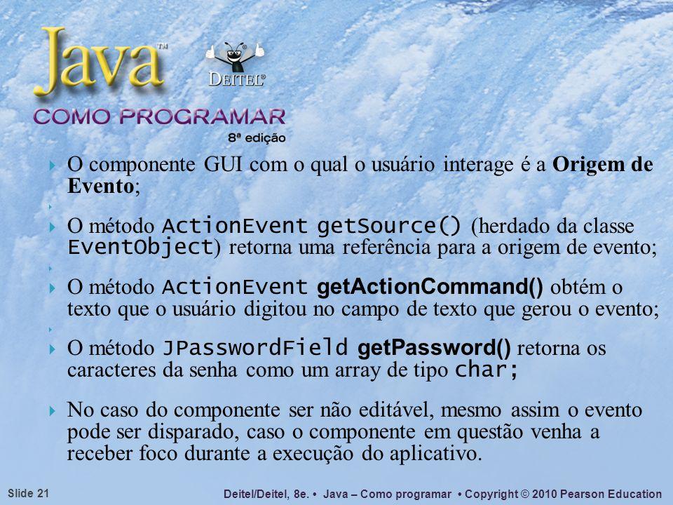 Deitel/Deitel, 8e. Java – Como programar Copyright © 2010 Pearson Education Slide 21 O componente GUI com o qual o usuário interage é a Origem de Even