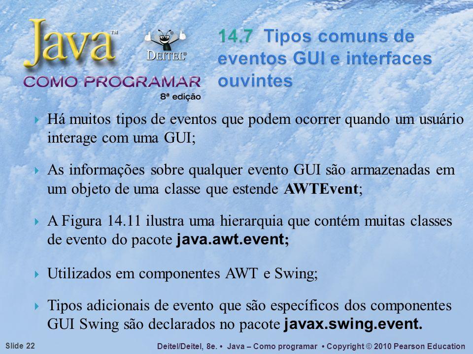 Deitel/Deitel, 8e. Java – Como programar Copyright © 2010 Pearson Education Slide 22 Há muitos tipos de eventos que podem ocorrer quando um usuário in