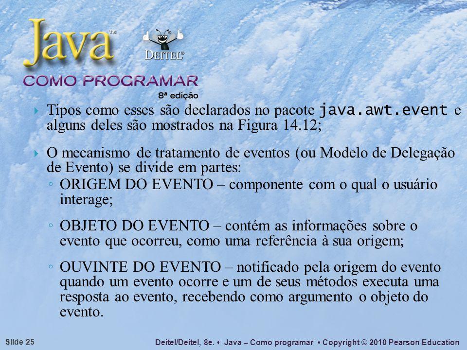 Deitel/Deitel, 8e. Java – Como programar Copyright © 2010 Pearson Education Slide 25 Tipos como esses são declarados no pacote java.awt.event e alguns