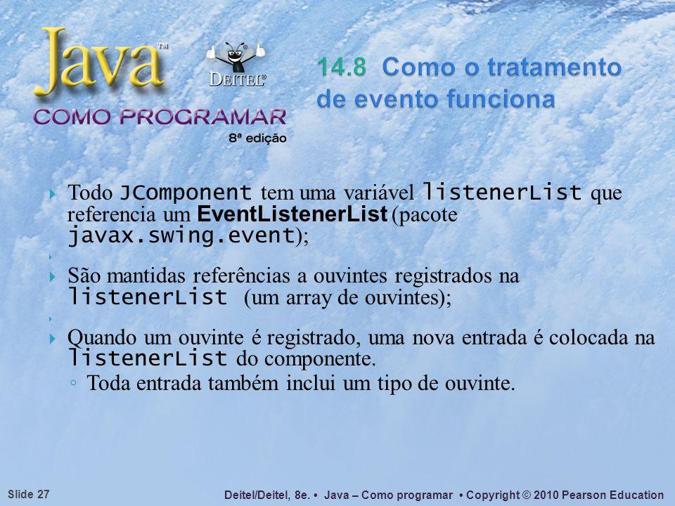 Deitel/Deitel, 8e. Java – Como programar Copyright © 2010 Pearson Education Slide 27 Todo JComponent tem uma variável listenerList que referencia um E