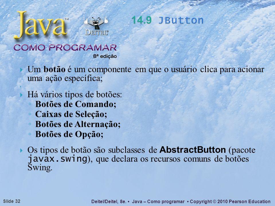 Deitel/Deitel, 8e. Java – Como programar Copyright © 2010 Pearson Education Slide 32 Um botão é um componente em que o usuário clica para acionar uma