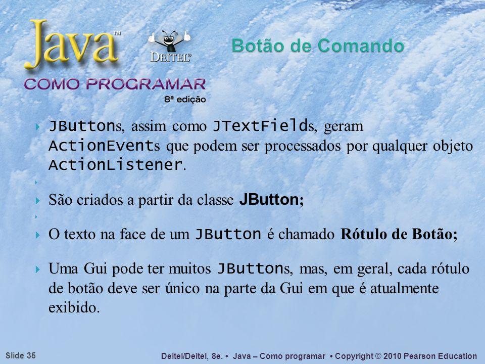 Deitel/Deitel, 8e. Java – Como programar Copyright © 2010 Pearson Education Slide 35 JButton s, assim como JTextField s, geram ActionEvent s que podem