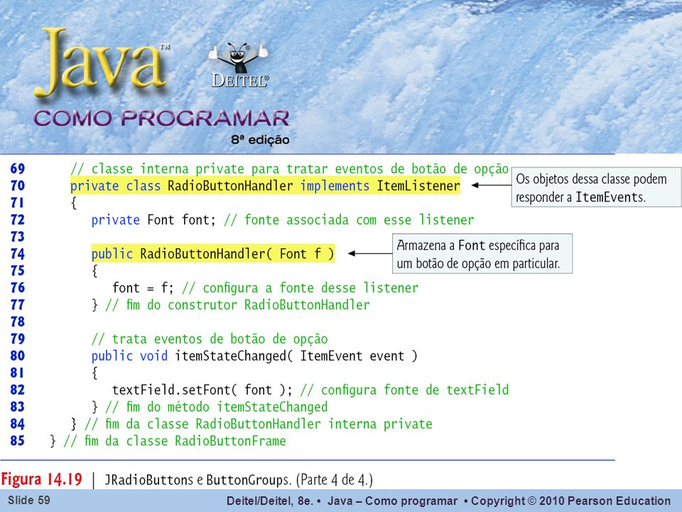 Deitel/Deitel, 8e. Java – Como programar Copyright © 2010 Pearson Education Slide 59