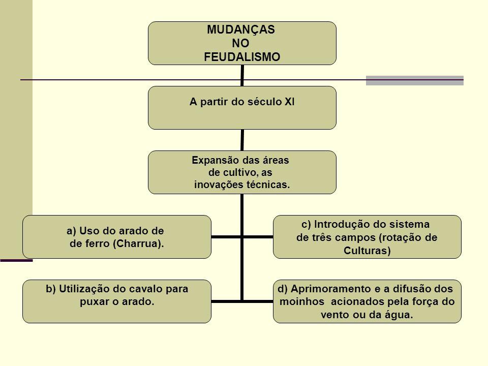 MUDANÇAS NO FEUDALISMO A partir do século XI Expansão das áreas de cultivo, as inovações técnicas. a) Uso do arado de de ferro (Charrua). c) Introduçã