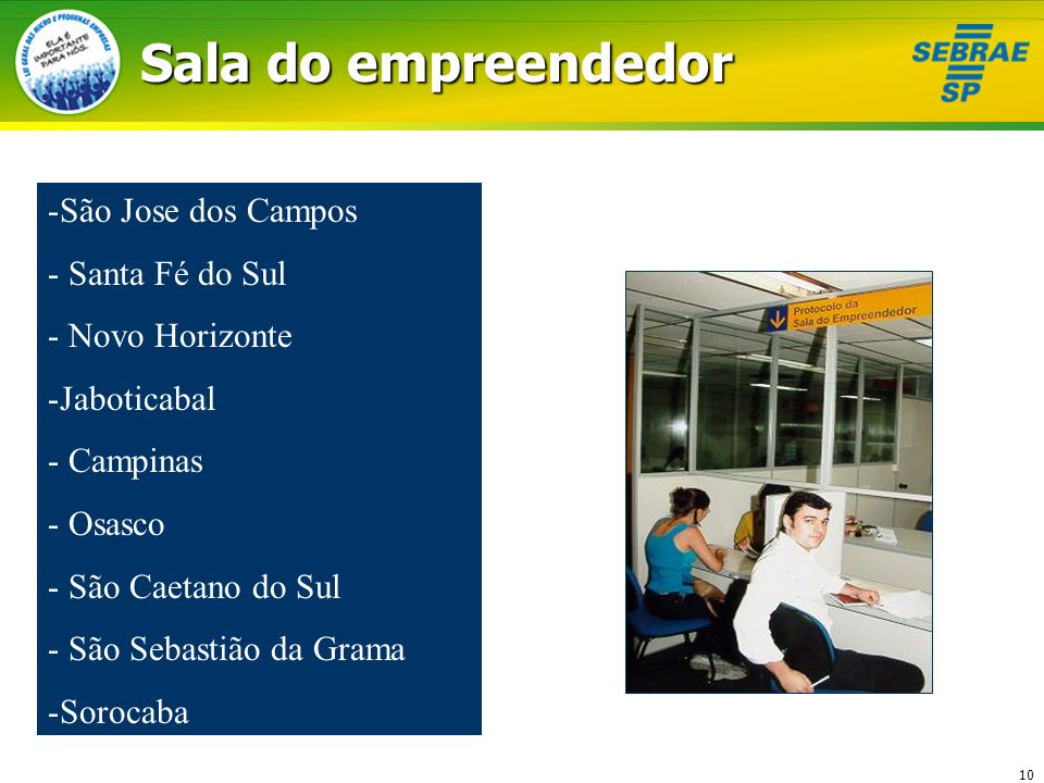 10 Sala do empreendedor -São Jose dos Campos - Santa Fé do Sul - Novo Horizonte -Jaboticabal - Campinas - Osasco - São Caetano do Sul - São Sebastião