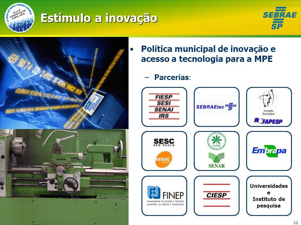 12 Estímulo a inovação Política municipal de inovação e acesso a tecnologia para a MPE –Parcerias: Universidades e Instituto de pesquisa