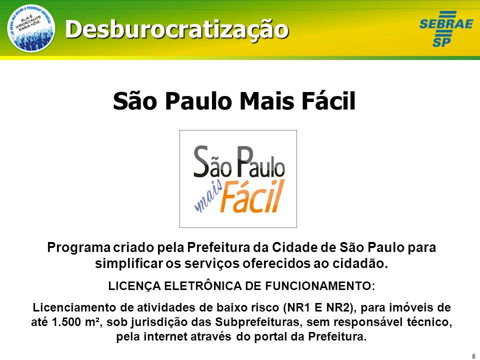 8 São Paulo Mais Fácil Programa criado pela Prefeitura da Cidade de São Paulo para simplificar os serviços oferecidos ao cidadão. LICENÇA ELETRÔNICA D