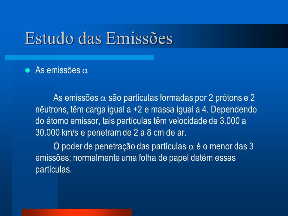 Estudo das Emissões As emissões As emissões são partículas formadas por 2 prótons e 2 nêutrons, têm carga igual a +2 e massa igual a 4. Dependendo do