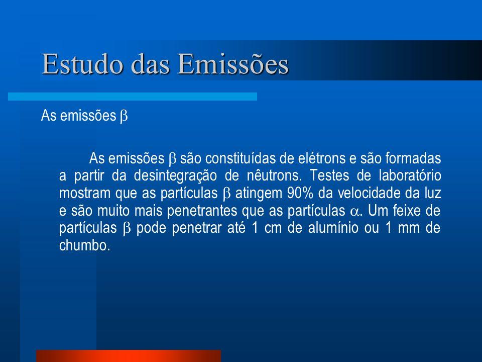 Estudo das Emissões As emissões As emissões são constituídas de elétrons e são formadas a partir da desintegração de nêutrons. Testes de laboratório m