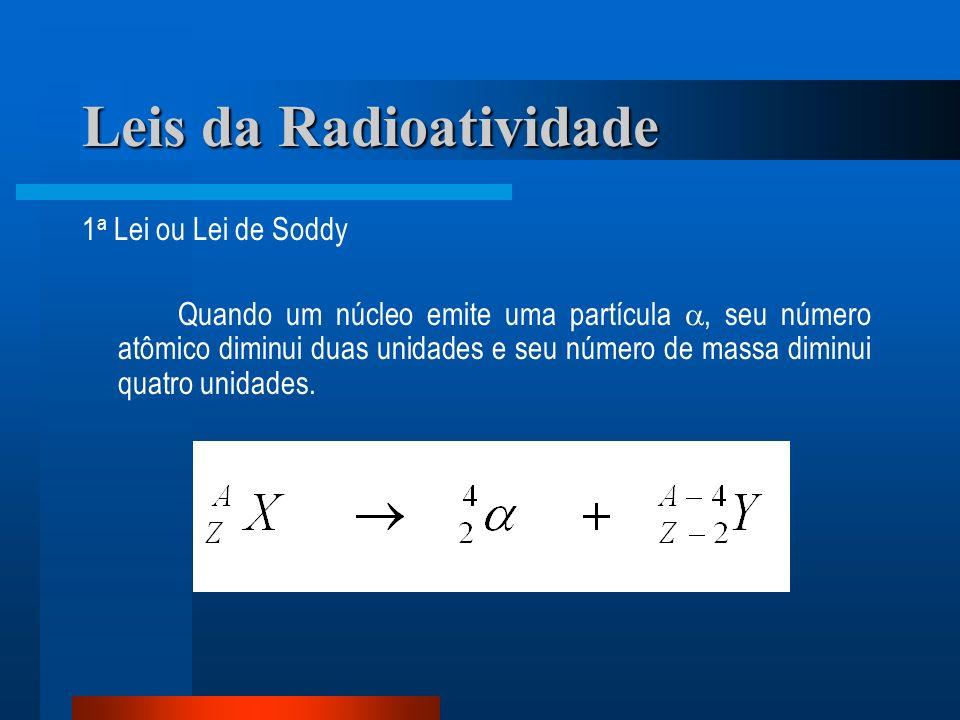 Leis da Radioatividade 1 a Lei ou Lei de Soddy Quando um núcleo emite uma partícula, seu número atômico diminui duas unidades e seu número de massa di