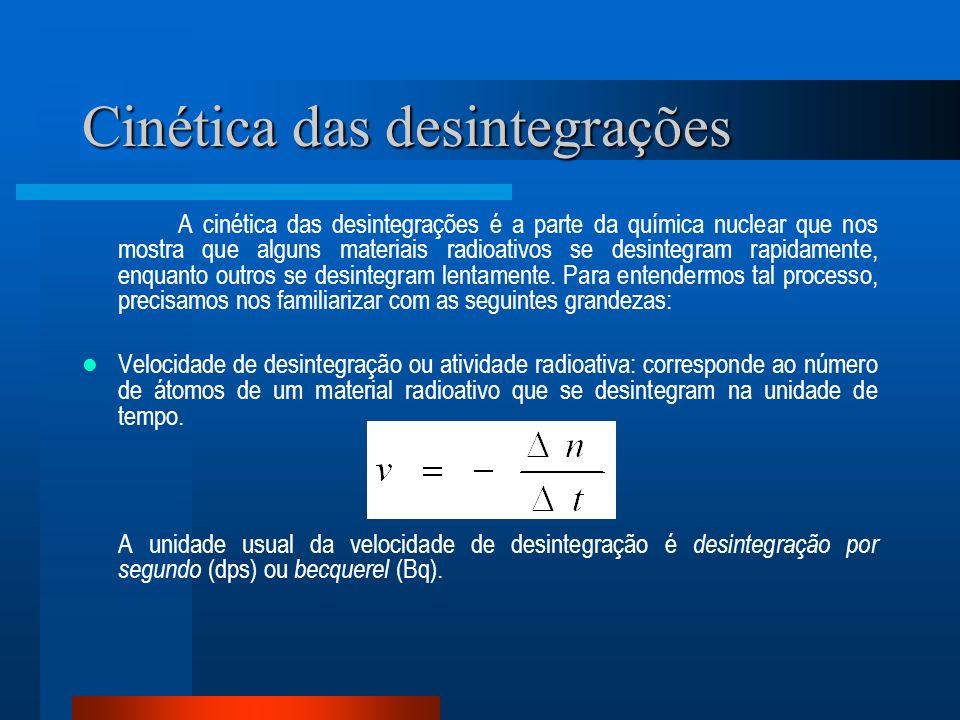 Cinética das desintegrações A cinética das desintegrações é a parte da química nuclear que nos mostra que alguns materiais radioativos se desintegram