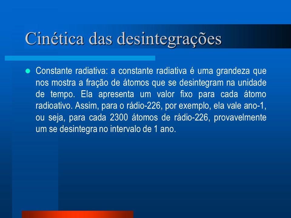Cinética das desintegrações Constante radiativa: a constante radiativa é uma grandeza que nos mostra a fração de átomos que se desintegram na unidade
