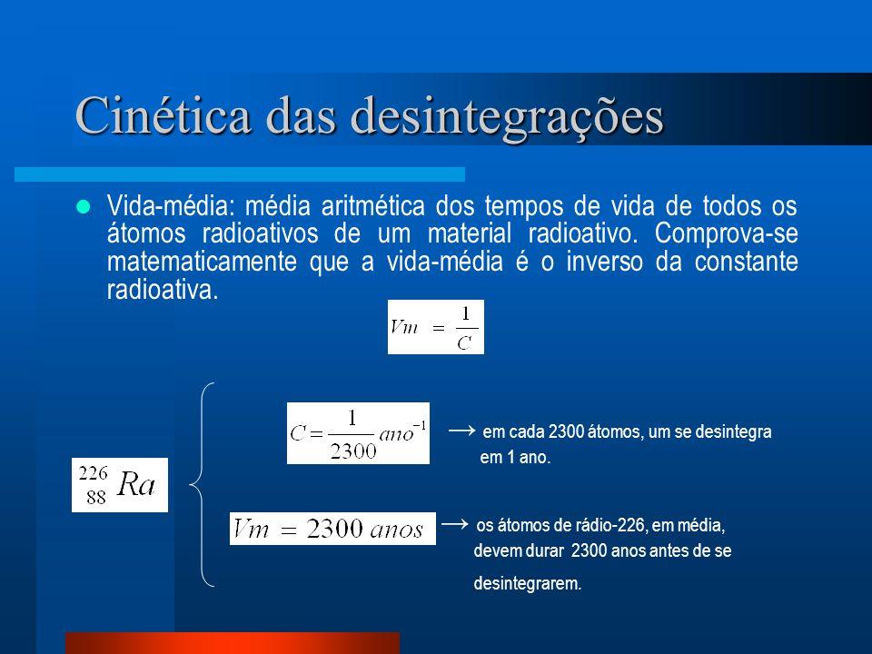 Cinética das desintegrações Vida-média: média aritmética dos tempos de vida de todos os átomos radioativos de um material radioativo. Comprova-se mate