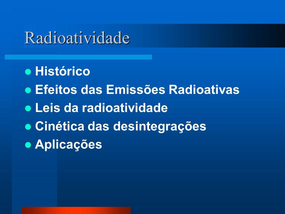 Radioatividade Histórico Efeitos das Emissões Radioativas Leis da radioatividade Cinética das desintegrações Aplicações