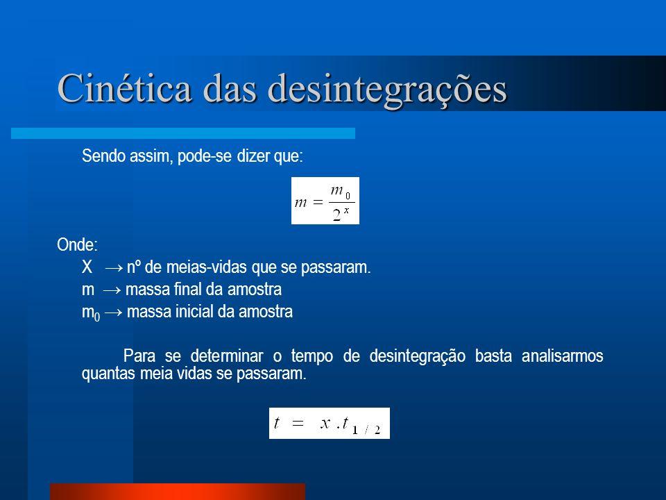 Cinética das desintegrações Sendo assim, pode-se dizer que: Onde: X nº de meias-vidas que se passaram. m massa final da amostra m 0 massa inicial da a