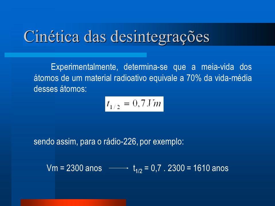 Cinética das desintegrações Experimentalmente, determina-se que a meia-vida dos átomos de um material radioativo equivale a 70% da vida-média desses á