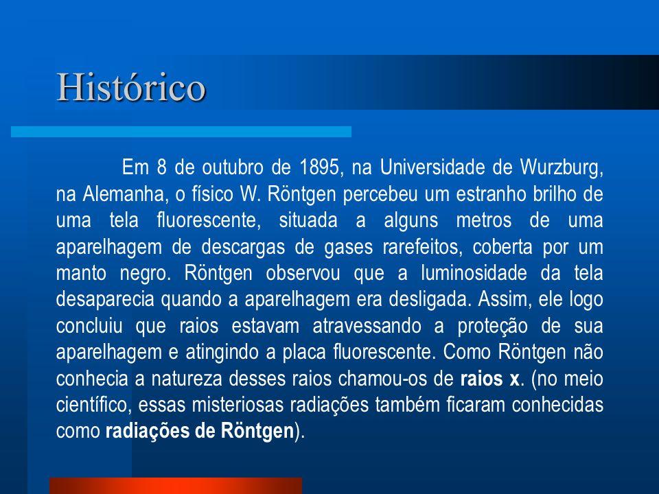 Histórico Em 8 de outubro de 1895, na Universidade de Wurzburg, na Alemanha, o físico W. Röntgen percebeu um estranho brilho de uma tela fluorescente,