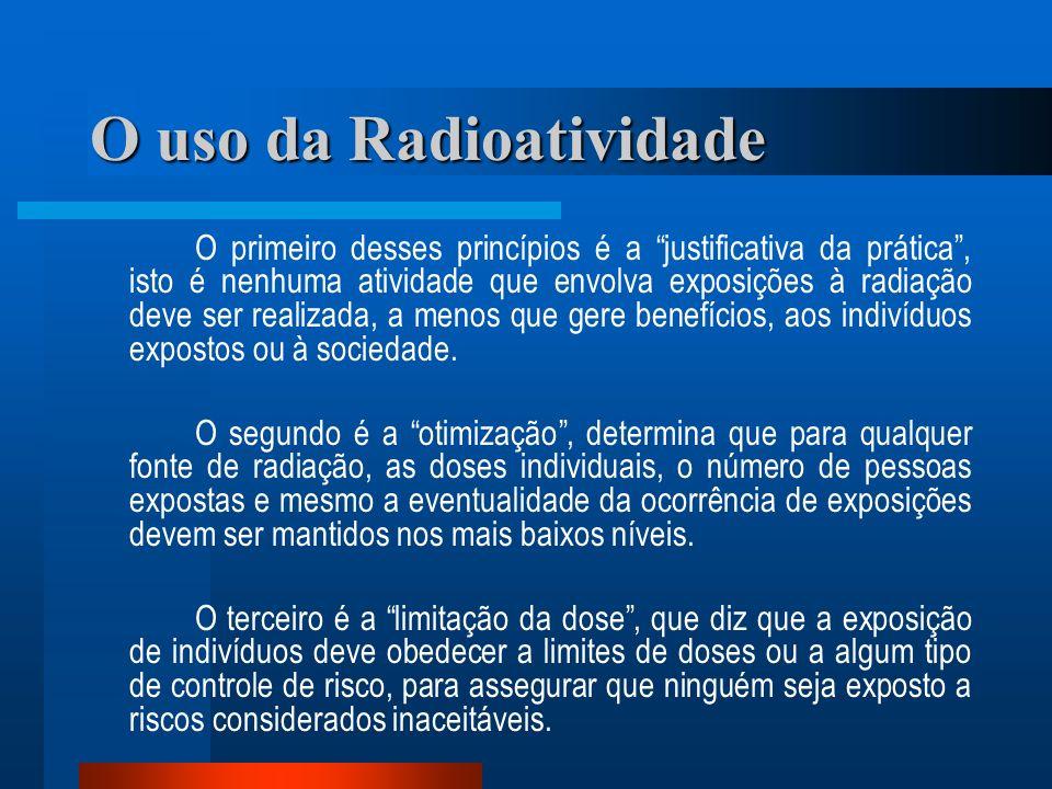 O uso da Radioatividade O primeiro desses princípios é a justificativa da prática, isto é nenhuma atividade que envolva exposições à radiação deve ser