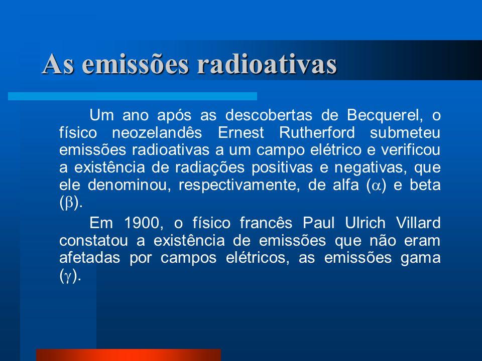 As emissões radioativas Um ano após as descobertas de Becquerel, o físico neozelandês Ernest Rutherford submeteu emissões radioativas a um campo elétr