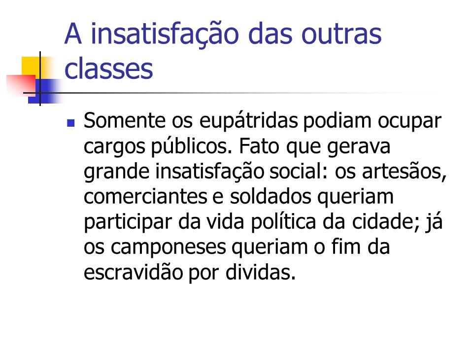 A insatisfação das outras classes Somente os eupátridas podiam ocupar cargos públicos. Fato que gerava grande insatisfação social: os artesãos, comerc