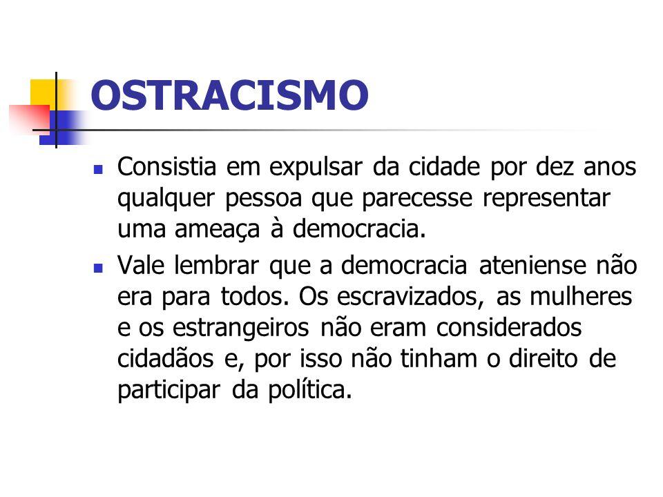 OSTRACISMO Consistia em expulsar da cidade por dez anos qualquer pessoa que parecesse representar uma ameaça à democracia. Vale lembrar que a democrac