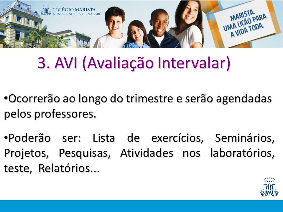 3. AVI (Avaliação Intervalar) Ocorrerão ao longo do trimestre e serão agendadas pelos professores. Ocorrerão ao longo do trimestre e serão agendadas p