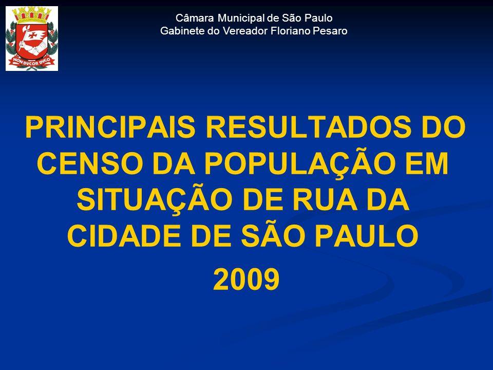 Câmara Municipal de São Paulo Gabinete do Vereador Floriano Pesaro PRINCIPAIS RESULTADOS DO CENSO DA POPULAÇÃO EM SITUAÇÃO DE RUA DA CIDADE DE SÃO PAU