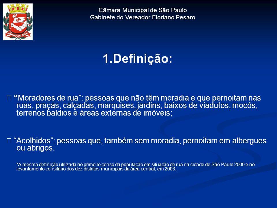 Câmara Municipal de São Paulo Gabinete do Vereador Floriano Pesaro 1.Definição: Moradores de rua: pessoas que não têm moradia e que pernoitam nas ruas
