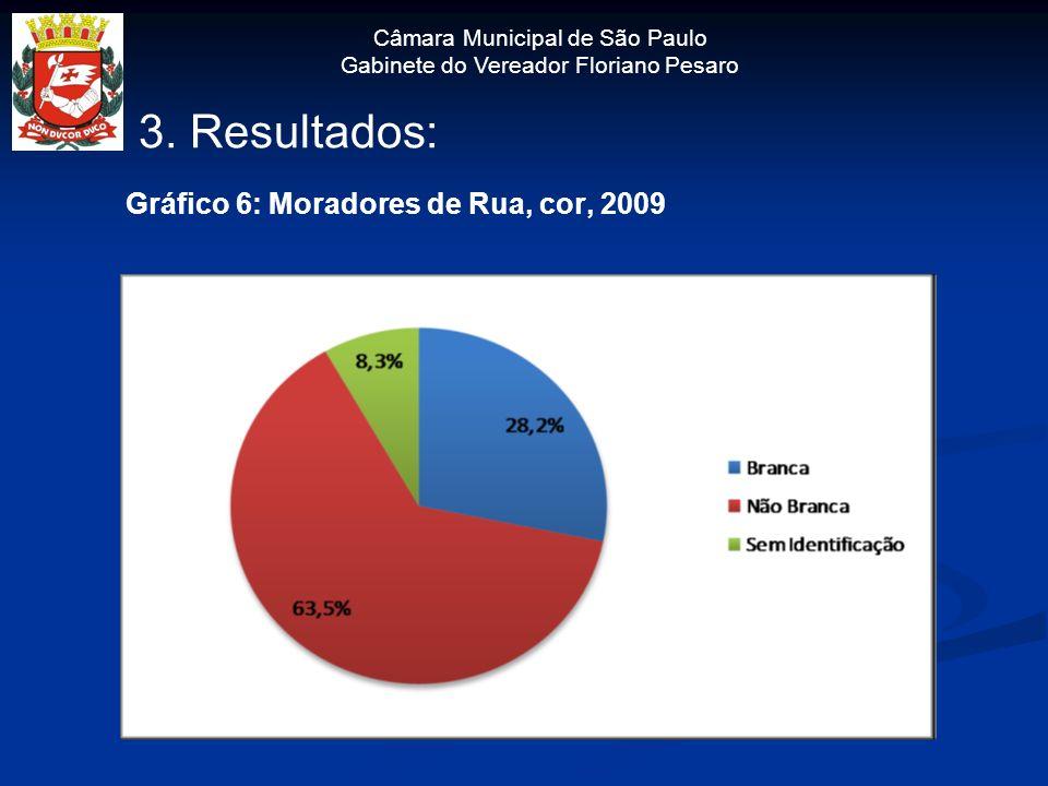 Câmara Municipal de São Paulo Gabinete do Vereador Floriano Pesaro 3. Resultados: Gráfico 6: Moradores de Rua, cor, 2009