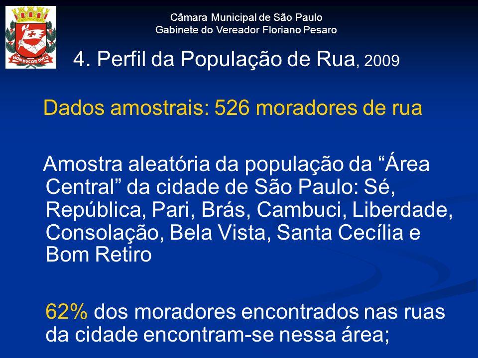 Câmara Municipal de São Paulo Gabinete do Vereador Floriano Pesaro 4. Perfil da População de Rua, 2009 Dados amostrais: 526 moradores de rua Amostra a