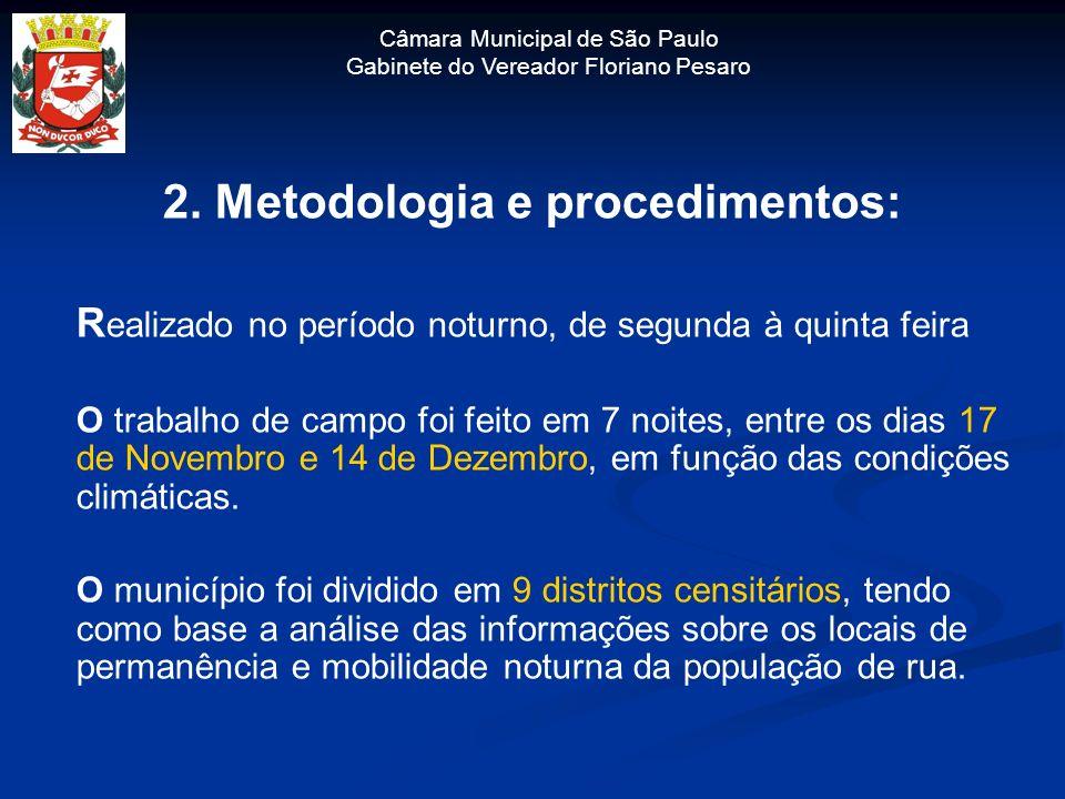Câmara Municipal de São Paulo Gabinete do Vereador Floriano Pesaro 2. Metodologia e procedimentos: R ealizado no período noturno, de segunda à quinta