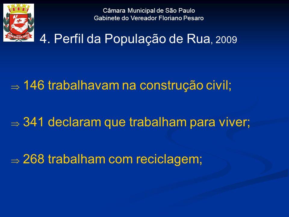 Câmara Municipal de São Paulo Gabinete do Vereador Floriano Pesaro 4. Perfil da População de Rua, 2009 146 trabalhavam na construção civil; 341 declar