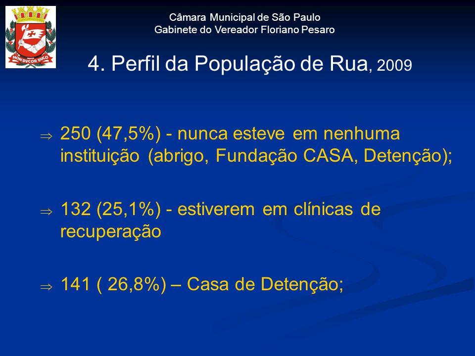 Câmara Municipal de São Paulo Gabinete do Vereador Floriano Pesaro 4. Perfil da População de Rua, 2009 250 (47,5%) - nunca esteve em nenhuma instituiç